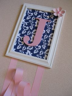Hair Clip Holder Navy and Pink Letter Bow Holder.