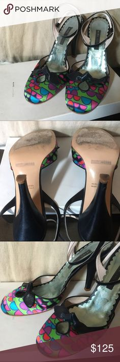 Marc Jacobs Fab Roxy Ankle Strap Heels very good condition, worn, knick on one heel as per photos. otherwise good condition some minor signs of wear...navy leather detailing, silk multi color geometric patterned toe. vintage marc jacobs please no low ball offers, would rather keep them.thanks! Marc Jacobs Shoes Heels