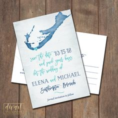 Save the Date Postcard, Save Our Date Postcard, Destination Wedding, Bermuda Custom Map Save the Date Postcard - PRINTABLE files by DIVart on Etsy