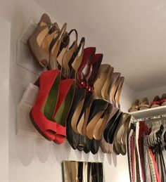 Another nifty shoe storage idea: hang heels off of moldings. (Frees up shelf and floor space.) | 15 Wonderful Ways To Improve Your Closet