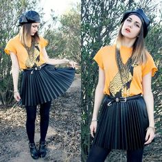 Vintage Leather Newsboy Cap, Wildfox Couture Cheeta T Shirt, H&M Leather Accordion Skirt, Dolce Vita Clark Booties