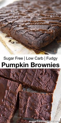 Brownie recipes 619737598706869991 - Fudgy Pumpkin Brownies are not only decadently chocolatey and deliciously spiced, they're healthy, too! The recipe is sugar free, keto and low carb – absolutely guilt-free pleasure. Sugar Free Desserts, Sugar Free Recipes, Low Carb Desserts, Healthy Dessert Recipes, Low Carb Recipes, Pumpkin Recipes Diabetic, Sugar Free Foods, Heart Healthy Desserts, Sugar Free Snacks