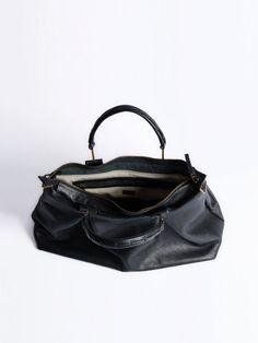 Black leather bag Women handbag Crossbody bag Genuine by OneDuo