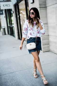 Tiffany Jais Houston fashion blogger of Flaunt and Center | 5 floral sweatshirts you need this spring | Embroidered trend, denim skirt, white Gucci bag, Dolce vita effie heels, spring casual outfits, street style 2017