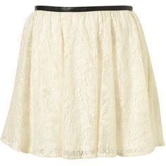 Cream Lace Faux Leather Trim Skirt (705 ARS) ❤ liked on Polyvore featuring skirts, bottoms, saias, faldas, women, cream lace skirt, lacy skirt, swing skirt, cream skirt and lace skirt