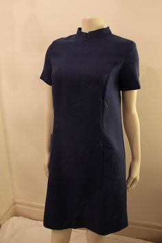 Items similar to Vintage - Very Flattering, Deep Blue, Short Sleeve Dress - Mid Thigh Length, Sheath Fit - 4 Seasons on Etsy Deep Blue, 1960s, High Neck Dress, Trending Outfits, Unique, Etsy, Clothes, Vintage, Dresses