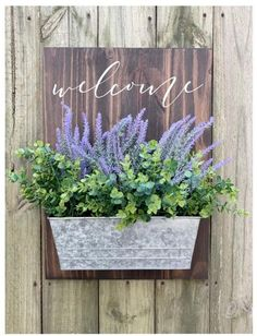Handcrafted Welcome Porch Sign w/ Galvanized Tub Drop Cloth Projects, Diy Wood Projects, Home Crafts, Diy Home Decor, Welcome Flowers, Porch Welcome Sign, White Chalk Paint, Rustic Crafts, Porch Signs