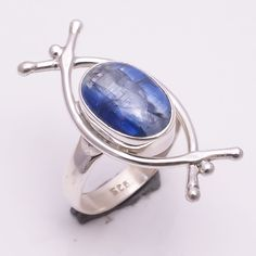 925 Sterling Silver Ring US Size 6, Natural Kyanite Handmade Jewelry CR1984 #Handmade #Fashion
