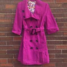 Adorable vintage style coat In excellent condition.  Such a cute, trendy light weight coat.  Lined in soft cotton.  A cross between plum and pink color.  Double breasted with black buttons.  Collar can be worn a couple of ways. Dressup Jackets & Coats Pea Coats