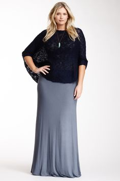 Loveappella Solid Maxi Skirt (Plus Size) by Loveappella on @HauteLook