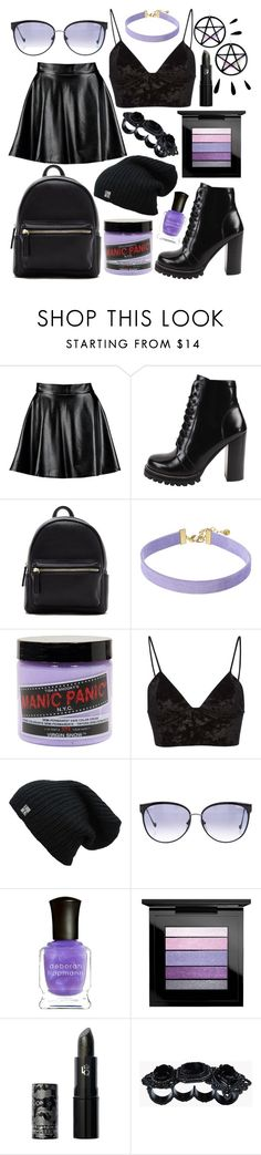"""""""// nightshade //"""" by polaris22 ❤ liked on Polyvore featuring Boohoo, Jeffrey Campbell, Forever 21, Vanessa Mooney, Manic Panic NYC, Fleur du Mal, Chrome Hearts, Deborah Lippmann, MAC Cosmetics and Lipstick Queen"""