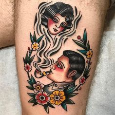Lady Smoke by @lollotattoo at Man's Ruin Tattoo Club in Milan Italy. #man #woman #smoking #ladysmoke #pipe #lollotattoo #mansruintattooclub #milan #italy #tattoo #tattoos #tattoosnob