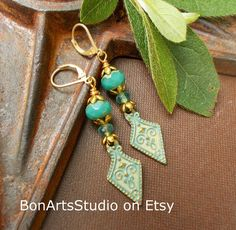 Turquoise Blue Czech Glass & Intricate Gold Patina Charm Earrings from #BonArtsStudio on Etsy Selling Handmade Items, Etsy Handmade, Handmade Gifts, Etsy Jewelry, Jewelry Gifts, Beaded Jewelry, Creative Gifts, Unique Gifts, Blue And Copper