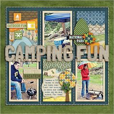 This links to a Photoshop shadow tut, but I just love the layout and want to recreate it with my classic supplies. Scrapbook Sketches, Scrapbook Page Layouts, Photo Layouts, Ikea Camping, Van Camping, Camping Theme, Camping Kitchen, Camping Packing, Camping Gadgets