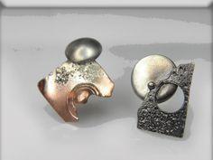 VESNAjewelryART by Vesna Kolobaric - mismatch  stud earrings mixed metal jewelry