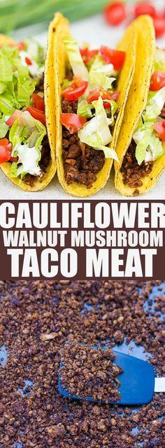 Cauliflower Walnut Mushroom Taco Meat | Vegan taco meat made with cauliflower, walnut and mushrooms!