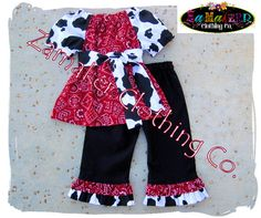 Girl Cow Outfit Set Girl Farm Birthday by ZamakerrClothingCo  For Cow Days!