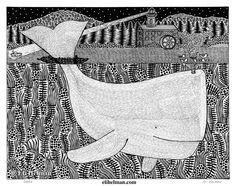 Whale by Eli Helman, 8x10, Micron pen ink on paper