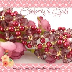 #ButterflysPin @JazzitupwithDes Elegant Cranberry and Gold beaded bracelet woven in delicate pattern with Swarovski crystals and heart shaped toggle clasp