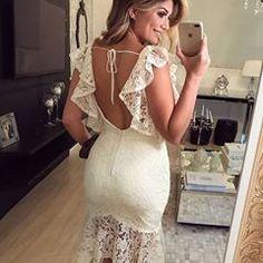 Costas do post anterior⠀ Formal Dresses For Women, Simple Dresses, Nice Dresses, Casual Dresses, Mom Dress, Fancy Dress, Lace Ruffle, Ruffle Dress, Sexy Reception Dress