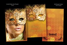 "Showboat Casino NYE Masquerade Reveal: The casino celebrated New Year's with a masquerade event. My invite was created with ""reveal"" in mind. There's a pocket folder and invitation that slides in. Designed for easy removal, I created the invite background, highlights, pattern, type treatment, photo manipulation and mask. Heavy card stock was treated with spot UV and foil, highlighting treatments & glitter. My creative was used for exhibit design. Applications: Photoshop, InDesign…"