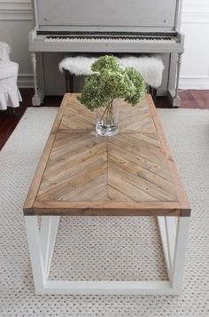 Modern Farmhouse Herringbone Coffee Table - I'd want to change the legs.I love the top! tables ideas diy Modern Farmhouse Herringbone Coffee Table - Shades of Blue Interiors Rustic Coffee Tables, Cool Coffee Tables, Coffee Table Design, Coffee Table On Rug, Coffee Table Upcycle Ideas, C Shaped Coffee Table, Redone Coffee Table, Coffee Table Top Ideas, Beachy Coffee Table