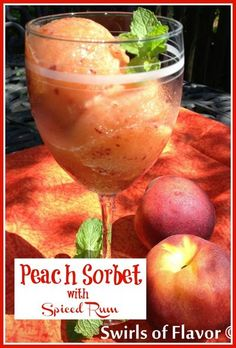A homemade Peach Sorbet with lemonade and spiced rum is a welcome treat on a hot summer day. Easy to make, our peach sorbet recipe will be a favorite frozen dessert. #peach #sorbet #frozen #dessert #swirlsofflavor Peach Sorbet, Peach Lemonade, Ripe Peach, Real Food Recipes, Dessert Recipes, Drink Recipes, Breakfast Recipes, Dinner Recipes, Healthy Recipes