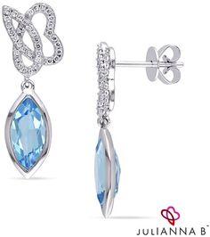 "94f86a4292 Zales Julianna Bâ""¢ Marquise Swiss Blue Topaz and 1 5 CT. T.W. Diamond  Cursive"