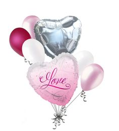7 pc I Love You Pink Romance Heart Valentines Day Balloon Bouquet Mine Hug Kiss Sweetest -- Awesome products selected by Anna Churchill