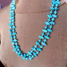 Vintage Very Long Faux Turquoise Necklace with by vintagedazzle
