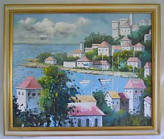Vintage Original Painting Seaside Mediterranean Port Village Landscape Dramatic #naive