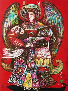 Red Wreathed Angel by Toller Cranston