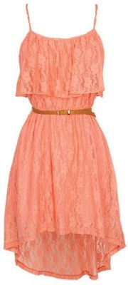 High Lo Love…  Hi/lo hemlines are gonna be hot as can be this spring and summer, so this dress is perfectly on trend. We love the pretty peach lace because it's flirty and cute. And while the price tag may be a tad on the over-budget side, it might be worth a splurge.     Strappy Lace Hi/Lo Dress, $50, delias.com