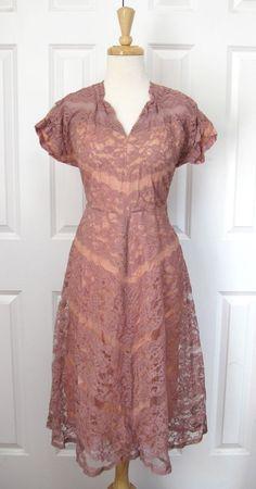 Vintage 1940's dusty rose dress.