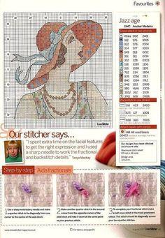 0 point de croix femme vintage au chapeau - cross stitch vintage lady with a hat