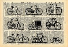 Old Book Art Print - Vintage Bicycle - Upcycled Antique Book Print - Kistch Vintage Bike Art - Black and White Art Print Old Book Art, Vintage Book Art, Old Books, Antique Books, Vintage Stuff, Velo Vintage, Vintage Bicycles, Vintage Medical, Antique Illustration