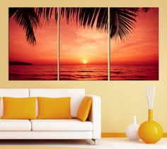 3 Piece Red Sunset and Palms Large Wall Art Canvas Print - X Large Wall Art Sea Seasccape Art Print - Canvas Large Wall Art Print