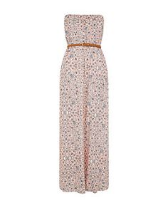 Blue and Pink Floral Print Strapless Maxi Dress   New Look Robe Ado, Vetement  Ado eec7d2020db3