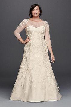 Oleg Cassini Wedding Dress with Illusion Sleeves 4XL8CWG704