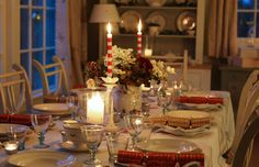 The perfect Susie Watson Christmas table is full of drama! We love using candles to add a warm glow, they set the scene perfectly and the golden glow works well with the red stripe candles.