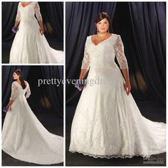 Wholesale 2013 Plus size Attractive Chubby Lace Long Sleeves V-neck Applique Sweep Length Wedding Dresses Gown, Free shipping, $201.65-218.0/Piece | DHgate