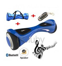 6.5 Inch Self Balancing Electric Hoverboard Scooter with Bluetooth Speaker& Remote Control Plum Blossom Tire Blue