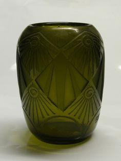 Legras olive green vase