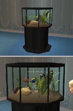 achteckiges-Aquarium fuer Sims2 Sims 2 Pets, Sims Games, Central Station, My Sims, Halloween, Mermaids, Aquarium, Creative, Animals