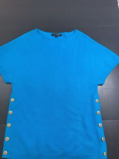 1598814948 St. John women Knit Wool Tunic Sweater Top Blue Size Medium Buttons on side  1031