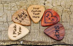 ONE CUSTOM ENGRAVED Wooden Guitar Pick by PickslaysWoodworking
