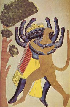 Ravana and Hanuman, Kalighat school of painting, c1880.