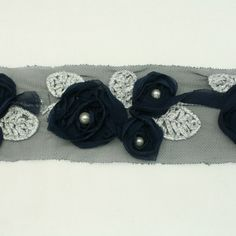 Navy Chiffon Lace Trim Flower Trim Flower Floral Lace Trim Shabby lace trim wedding fabric Millinery accent motif by the yard for baby headband hair accessories dress bridal accessories by Annielov trim 148 * Click image to review more details.