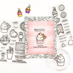 Nothing says summer like some froyo! And nothing says cute like this adorable waffle cone.  (Project by designer @sammann11 ) She used the Froyo and Friends Stamp Set from Sweet Stamp Shop