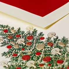 Hand Engraved Christmas Tree Greeting Card: Let's gather round for teacakes and trimmings. Twinkling lights. Garland. And ornaments galore. A Christmas tree of the most traditional kind is in order this holiday season, in your parlor and on your holiday greetings — hand engraved for extra splendor.
